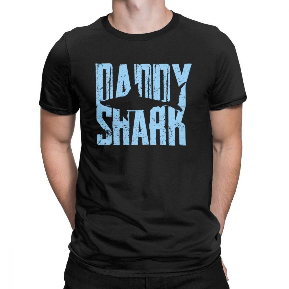 DaddySharkFunnyGiftTShirtforMenDadFathersDayGrandpaGuyClothesShortSleeveVintageT-ShirtONeck100%CottonTees