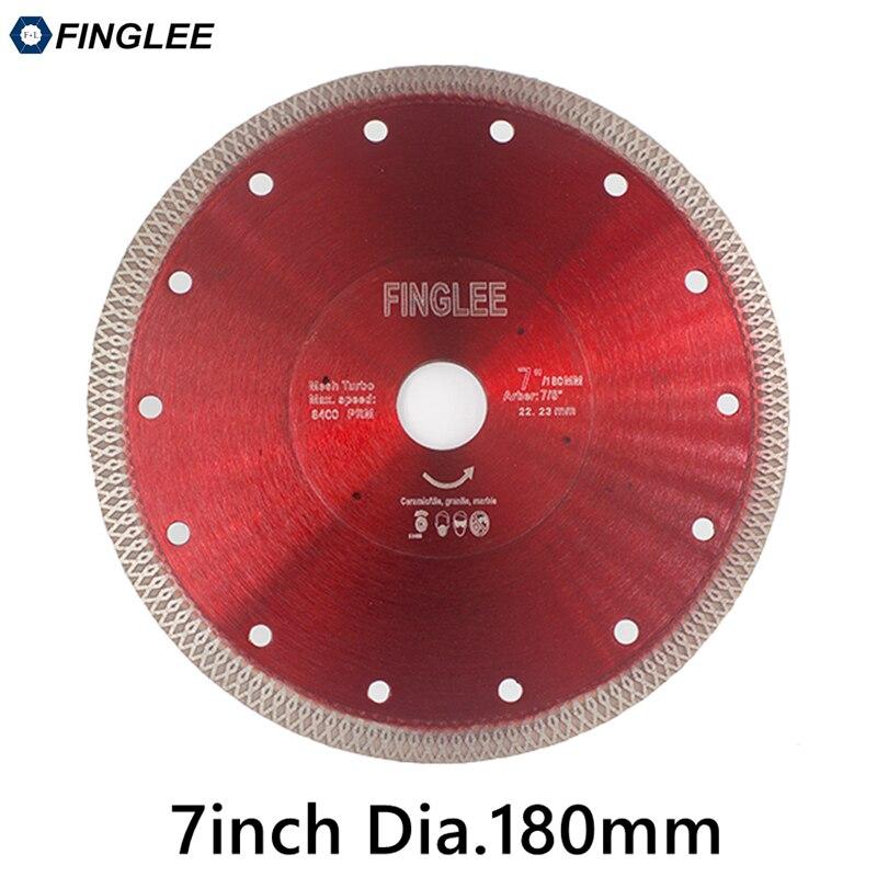 FINGLEE 1Pc 7in/180mm Ceramic Cutting Disc Diamond Saw Blade Turbo Wave Style for Granite,Ceramic,Porcelain,Stone Work