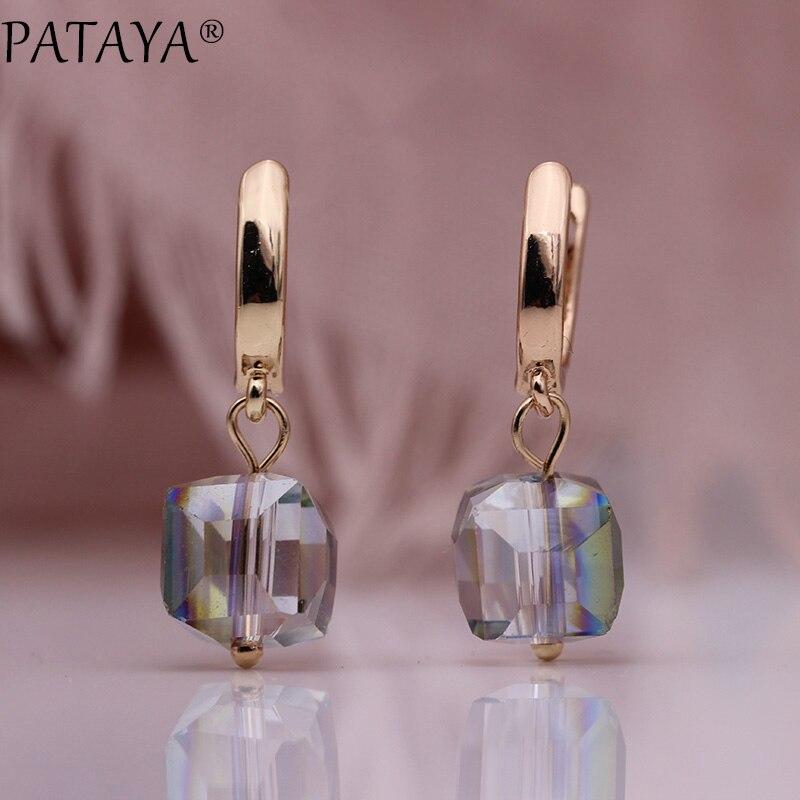 PATAYA 328 aniversario 585 rosa de oro sólido de gradiente de cristal pendientes largos para mujer moda joyería boda fiesta pendiente simple
