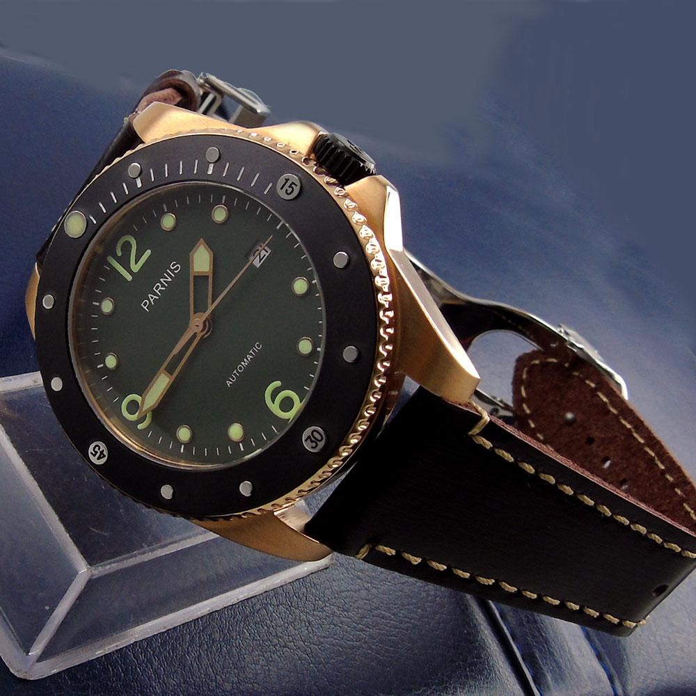 Parnis de 43mm, esfera verde, rosa, dorada, carcasa luminosa, desplegable, cristal de zafiro, movimiento automático miyota, reloj para hombre