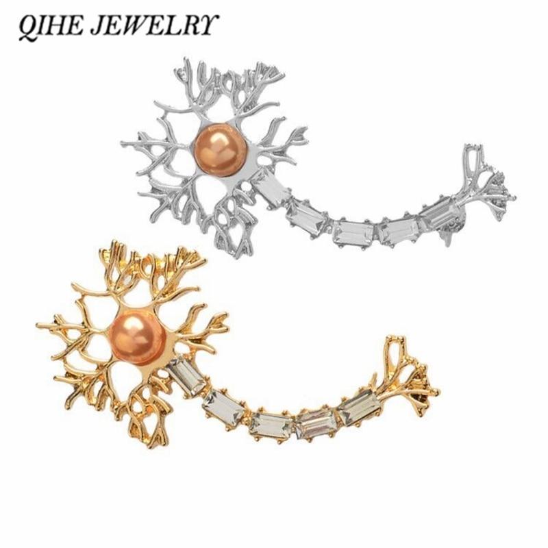 QIHE ювелирных изделий, нейронная заколка с перламутровым цирконием, брошки, бейджи, медицинское украшение, неврология, химия, подарки для больниц, медицинский