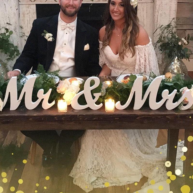 Decoración de boda de madera letras alfabeto palabra Mr & Mrs decoración para fiesta de boda Vintage mesa de decoración de centro de mesa