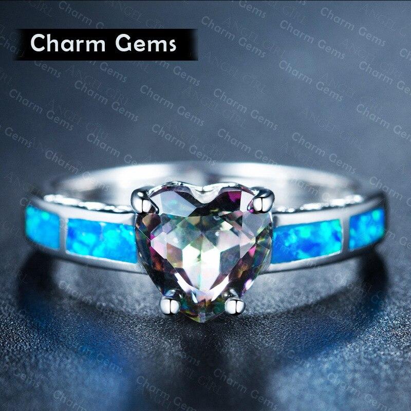 2020 novo cristal de swarovskis anjo menina simples anel azul fogo opala anéis para mulher na moda noivado