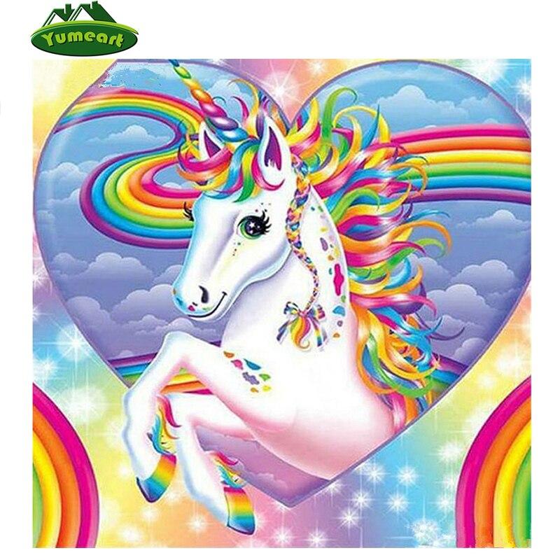 YUMEART diamante Cruz Stitch cristal completo diamante juegos Diy diamante pintura neón Color dibujos animados unicornio Animal diamante bordado