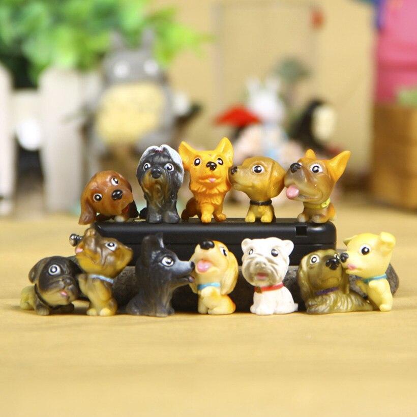12 pçs/set mini figuras de ação do cão pequeno animal de estimação bonito do cão meu filhote de cachorro brinquedos presente festa de aniversário bolo animais figura animal brinquedos