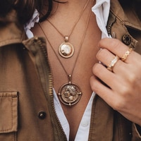 IPARAM Gold Color Hanging Portrait Coin Chain Choker Necklace Female Layered Charms Pendant Chokers Necklaces Bohemia Jewelry