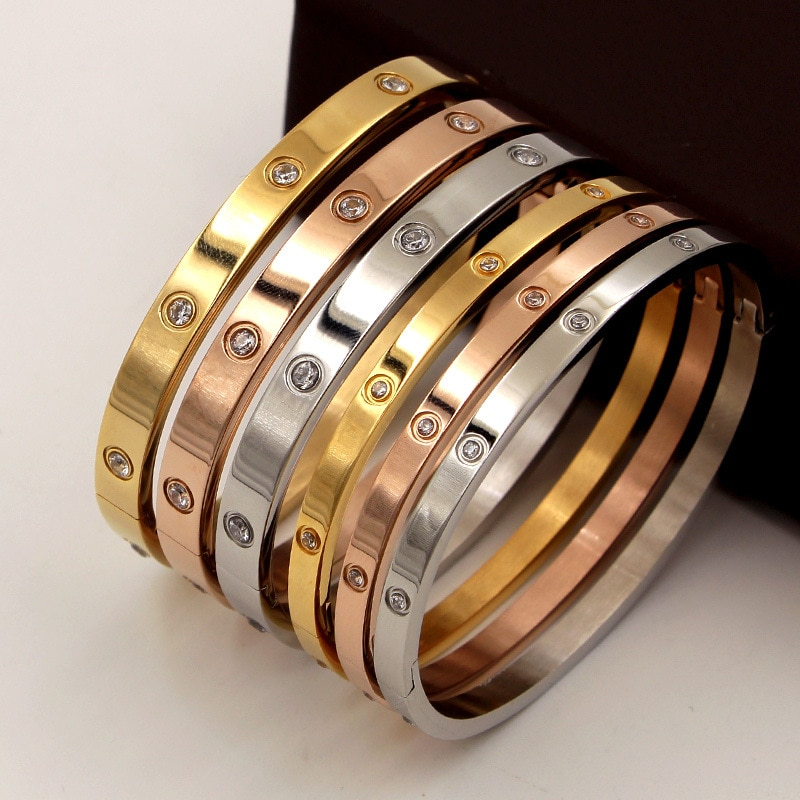 Beautiful Lovers Bracelets Woman Bracelets Stainless Steel Bangles and Bangles Cubic Zirconia Golden