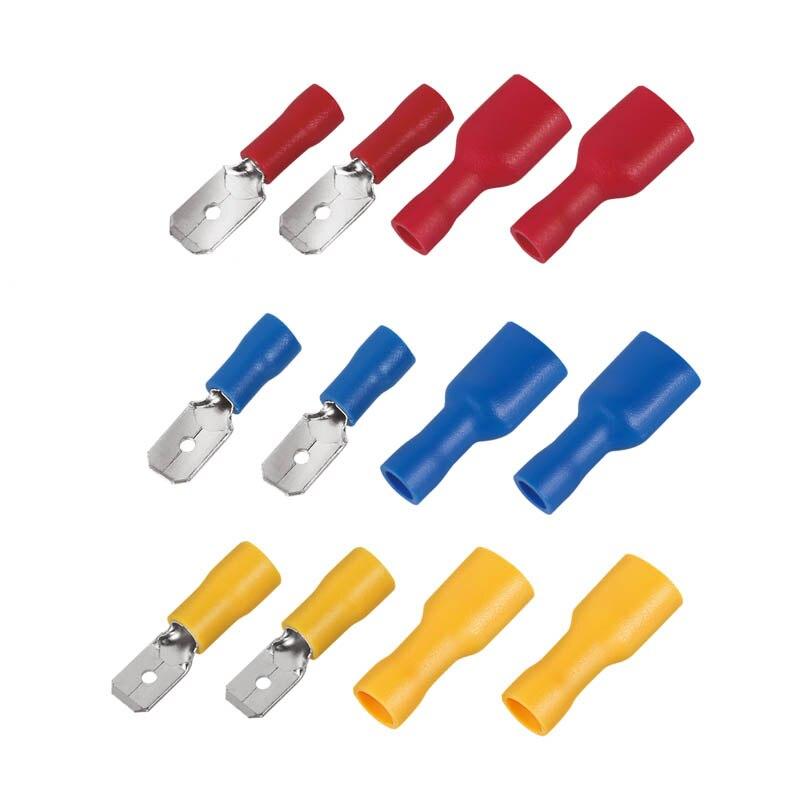 Terminal de pala FDFD, 6,3mm, 22-16 16-14 12-10AWG, hembra, macho, con aislamiento de Conector de cableado eléctrico, MDD1.25-250, 2,5-250, 5-250