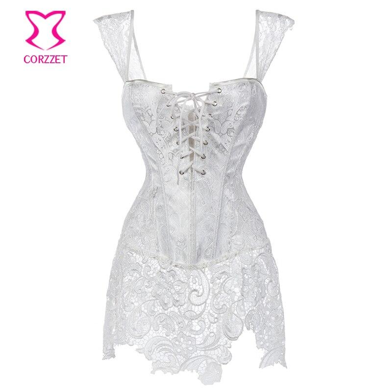 Blanco Paisley patrón brocado y encaje falda nupcial corsé Bustier Tops de talla grande Korsett para las mujeres vestido de boda lencería Sexy