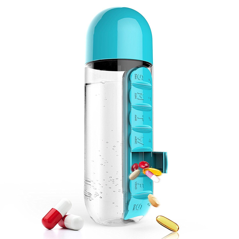 Botellas de plástico para beber, botella de agua de 600 ML, bonita botella para agua con fruta con pastillero diario, organizador de botellas, alarma de medicina fría