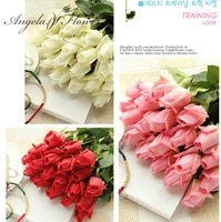 free shipping11pcslot fresh rose artificial flowers real touch rose flowers home decorations for wedding party birthday gifts