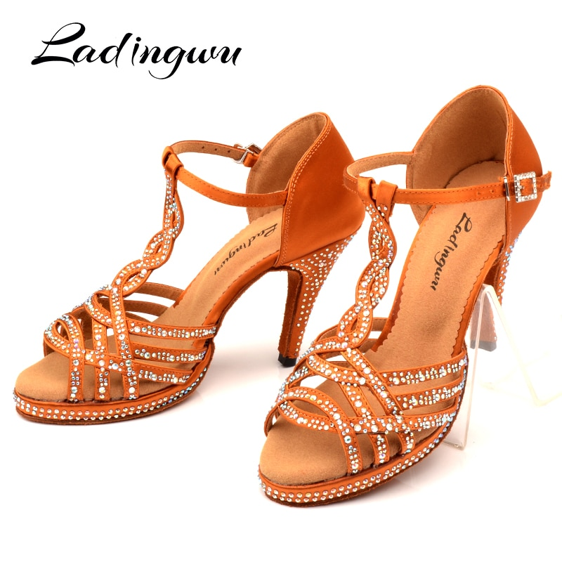 Ladingwu Dance Shoes Latin Women's Shoes Platform Glitter Rhinestone And Women Silk Satin Bronze Black Ballroom Dance Sandals