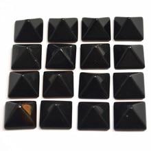 Hot Selling Fashion Natuursteen Vierkante Piramide CAB Cabochons Black Onyx Kralen 14mm * 14 * High8mm 30 STKS groothandel Gratis Verzending
