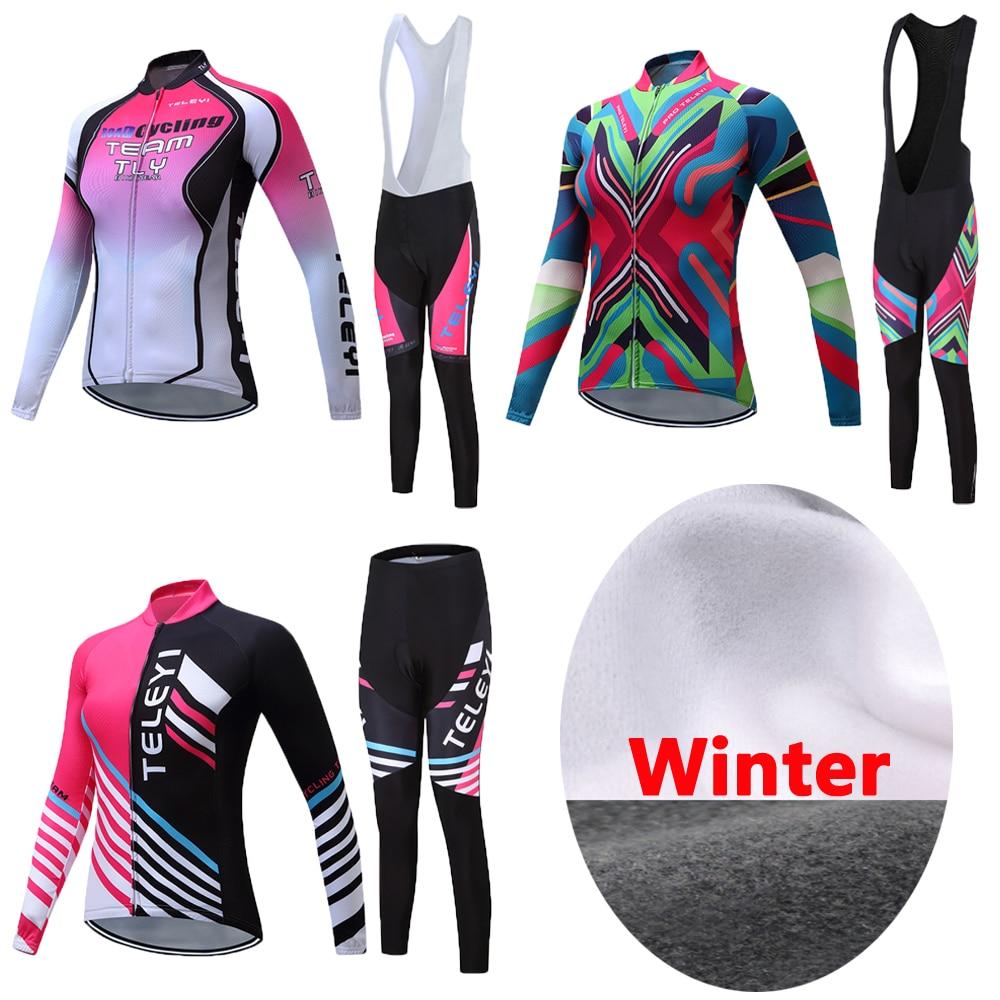 Women 2021 Winter Thermal Fleece Cycling Jersey Set Bike Clothing Kit Female Bicycle Maillot Ladies Tops Bib Pants Wear skinsuit
