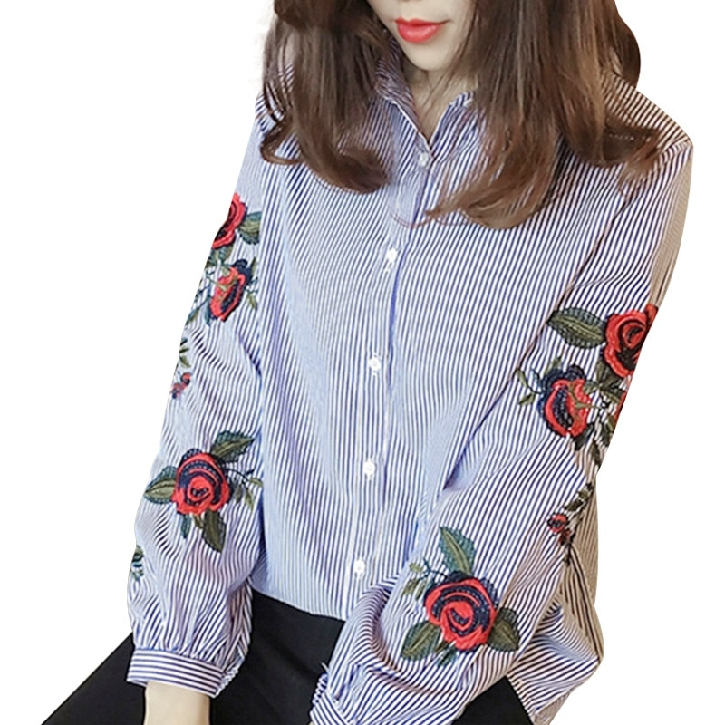 Women Embroidery Floral Print Blouses Feminine Casual Loose Stripped Shirt Front Button Turn-down Collar Tops Plus Size 3XL plus button front smocked waist floral dress