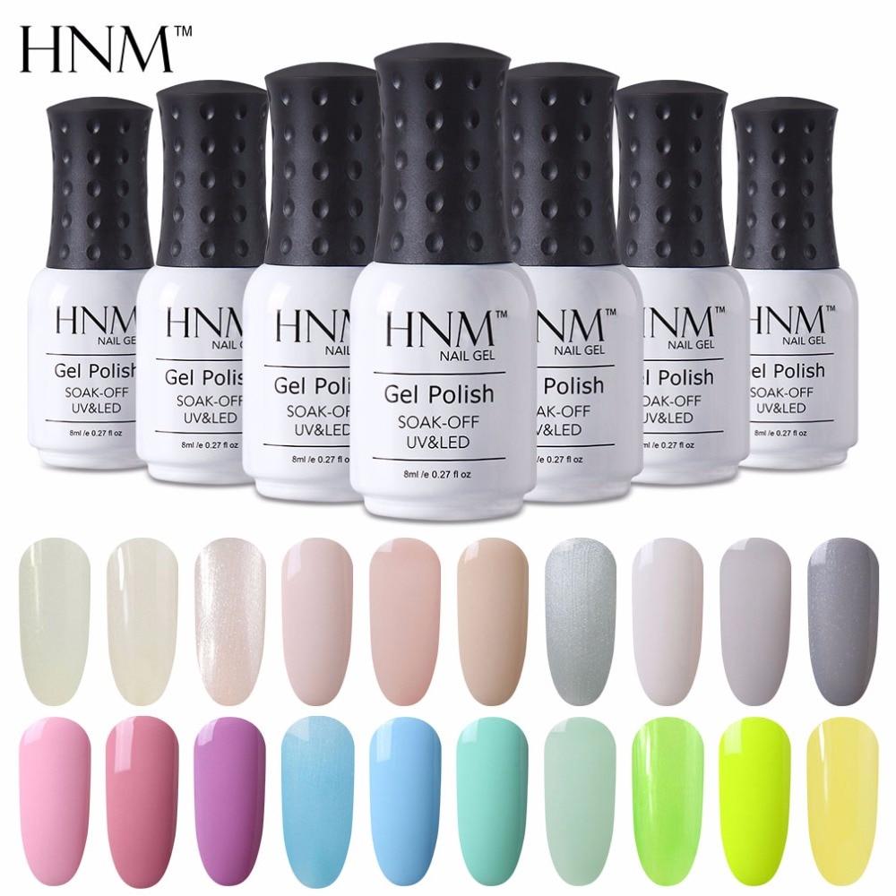HNM 8ml botella de esmalte de uñas de Color de luz Nagellak UV LED esmaltes de uñas Vernis Semi permanente Primer pintura Gellak Gelpolish Vernis un Ongle