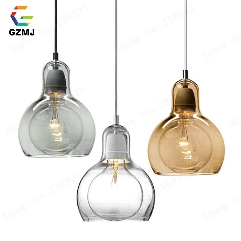 GZMJ الحديثة وجيزة أدى قلادة أضواء شفافة/رمادي/Abmer الزجاج الكرة نوم Hanglamp E27 المعيشة غرفة الطعام غرفة شنقا مصباح