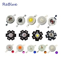 ReBlue 3 W Diode LED 5 W puissance puce LED Diode LED 1 W 3 W 5 W sur 20mm étoile PCB dissipateur thermique bricolage lampe Diode 660nm UV 365nm IR 850nm perle