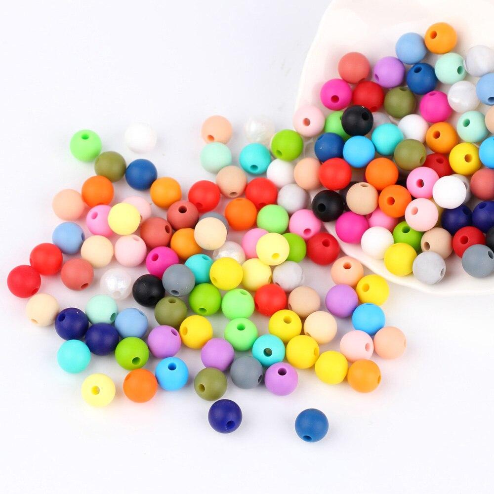 Lote de 10 cuentas de silicona TYRY.HU de 9mm para dentición de bebés, collar de dentición para bebés, Clips para chupete, accesorios de silicona sin BPA