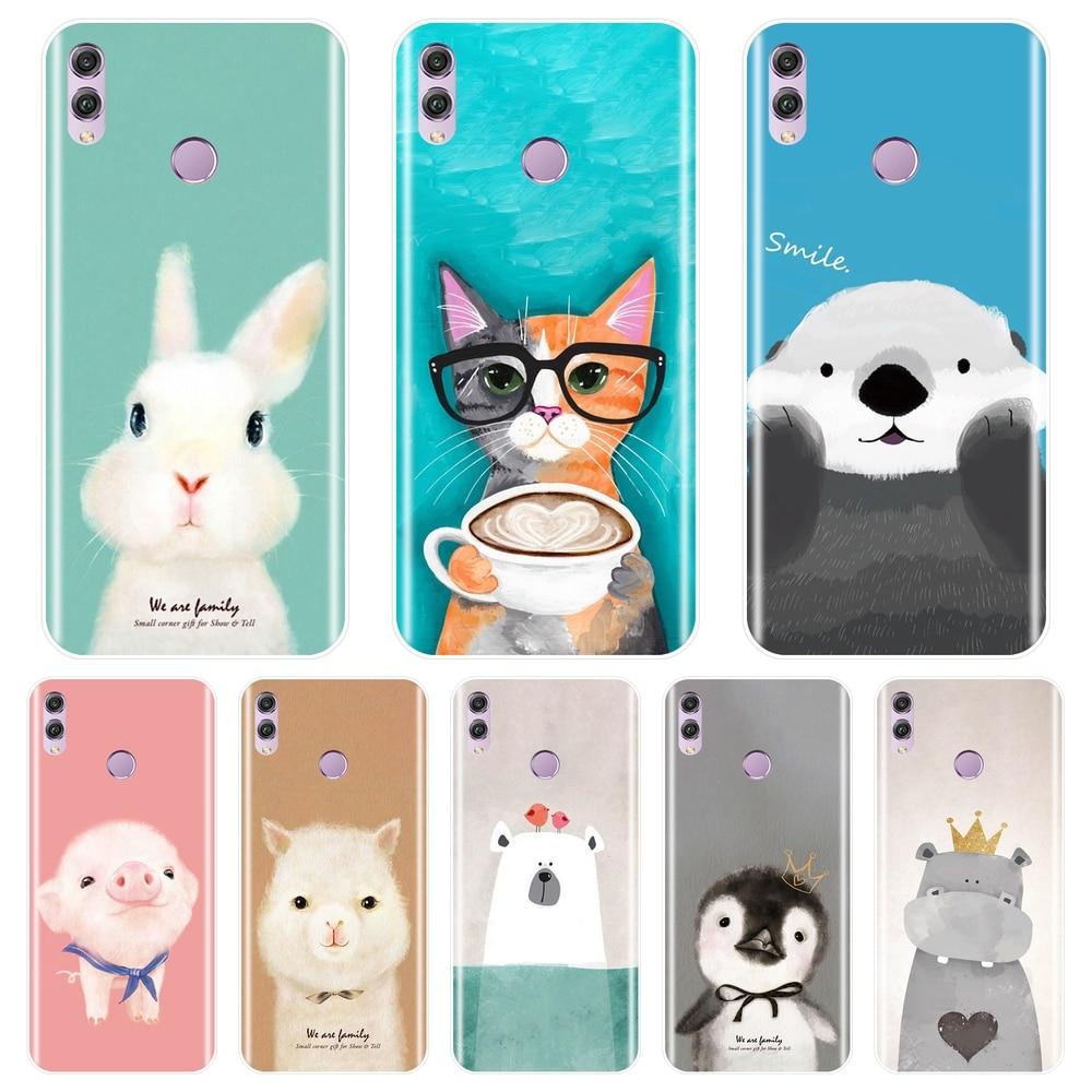 Suave funda de silicona para teléfono para Huawei Honor 7 8 9 10 Lite 7S 7X 7A 7C Pro Rosa cerdo de la contraportada para Huawei Honor 10 9 8 8X MAX caso