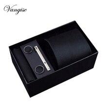 Jeu de boutons de manchette pour hommes   Couleur noir/bleu/rouge, 8cm large, 24 couleurs, boîte cadeau, soie polyester, fait à la main, tendance 2020