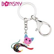 Bonsny Enamel Alloy Jumping Kitten Cat Key Chain Keychain Rings Cartoon Animal Jewelry For Women Girls Teen Bag Car Purse Charms