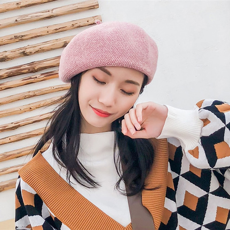 Fashion Wool hat knit painter cap for Women beret female hat autumn and winter Warm British wild Japanese Bonnet Hats Solid european and american autumn and winter new letter embroidery wool beret hat painter hat lady fashion warm berets women