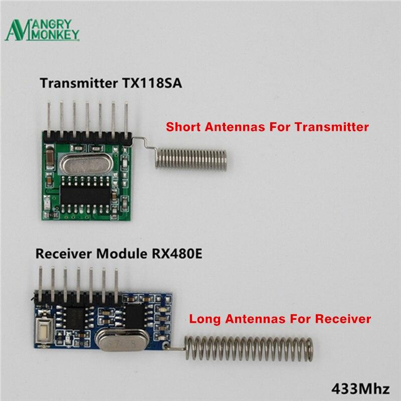 1 Juego de módulo de radiofrecuencia 433 Mhz receptor inalámbrico y receptor transmisor código de aprendizaje 1527 4Ch con antena para Arduino uno DIY kit
