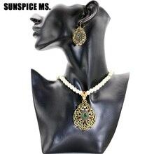 Sunspicems Vintage collier de perles boucle doreille fleur Imitation perle ensemble de bijoux Antique or couleur strass inde bijoux de mariage