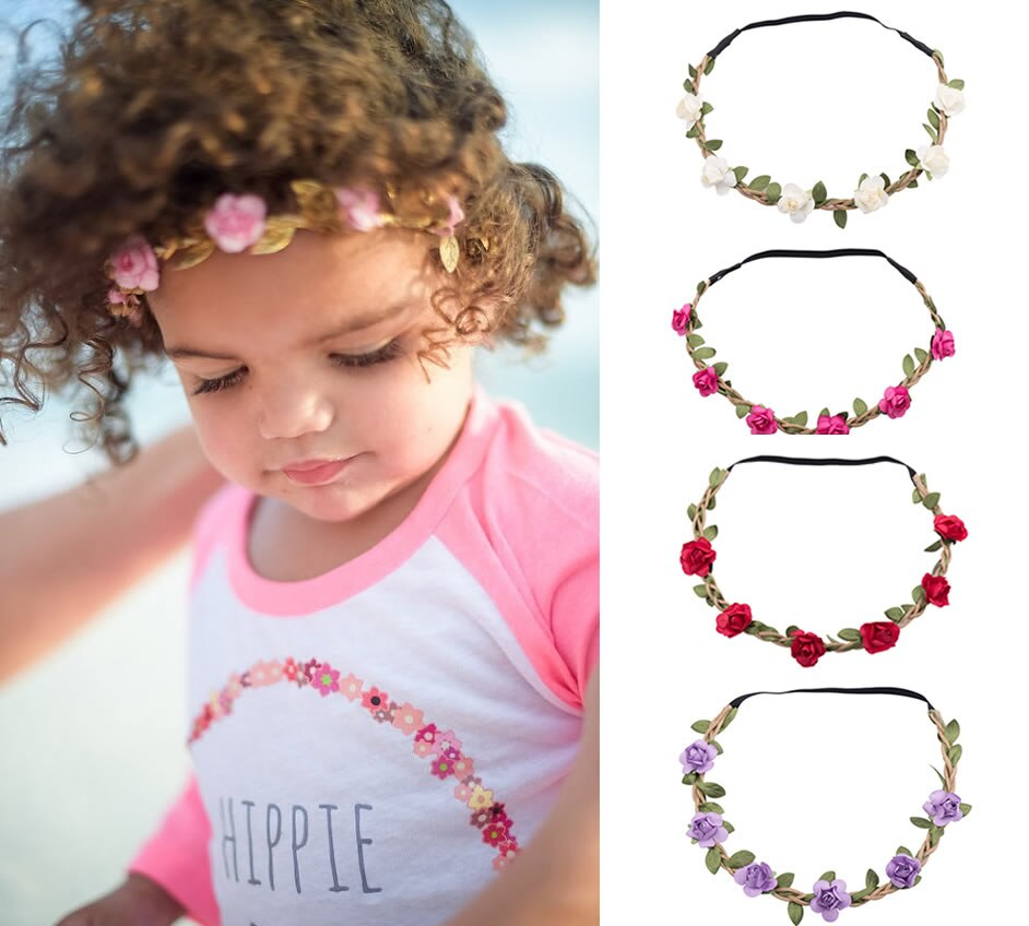 6 cores moda bebê menina bonito supremo bandana bebe crianças meninas boho flor praia festa de casamento guirlanda foto prop headwear