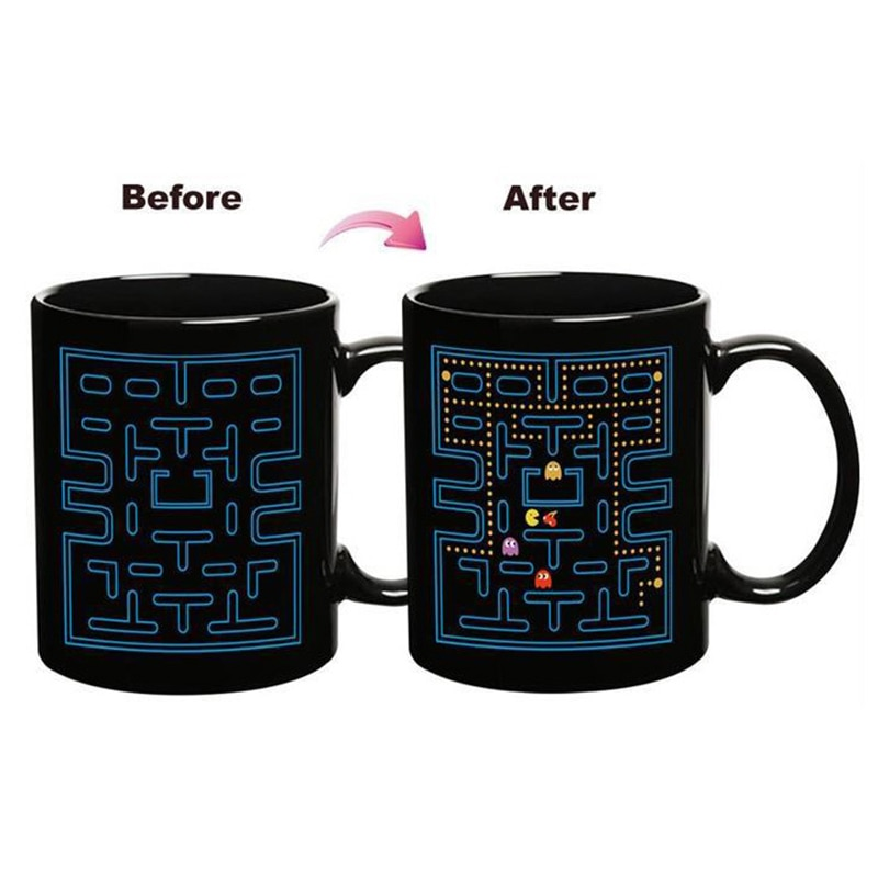 Heißer verkauf Magie Farbwechsel Keramische Kaffeetasse Pacman Stil Morgen Teebecher Warmwasser farbwechsel Becher Gute geschenk SH25