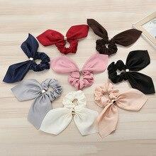 Bandes de cheveux élastiques femmes oreilles de lapin   Nœud, queue de cheval, joli mignon, couleur unie, boutons en métal, accessoires pour cheveux fixes