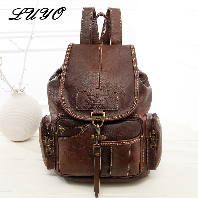 2020 High Quality Women Backpack Vintage Backpacks For Teenage Girls Fashion Large School Bags PU Leather Black Mochila Feminina