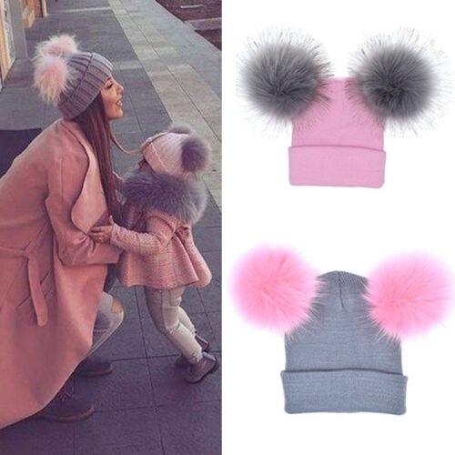 2018 Winter Warm Mom Kid Girl Knit Beanie Cap Hat Ski Faux Double Fur Pom Bobble Ball Family Matching Hat