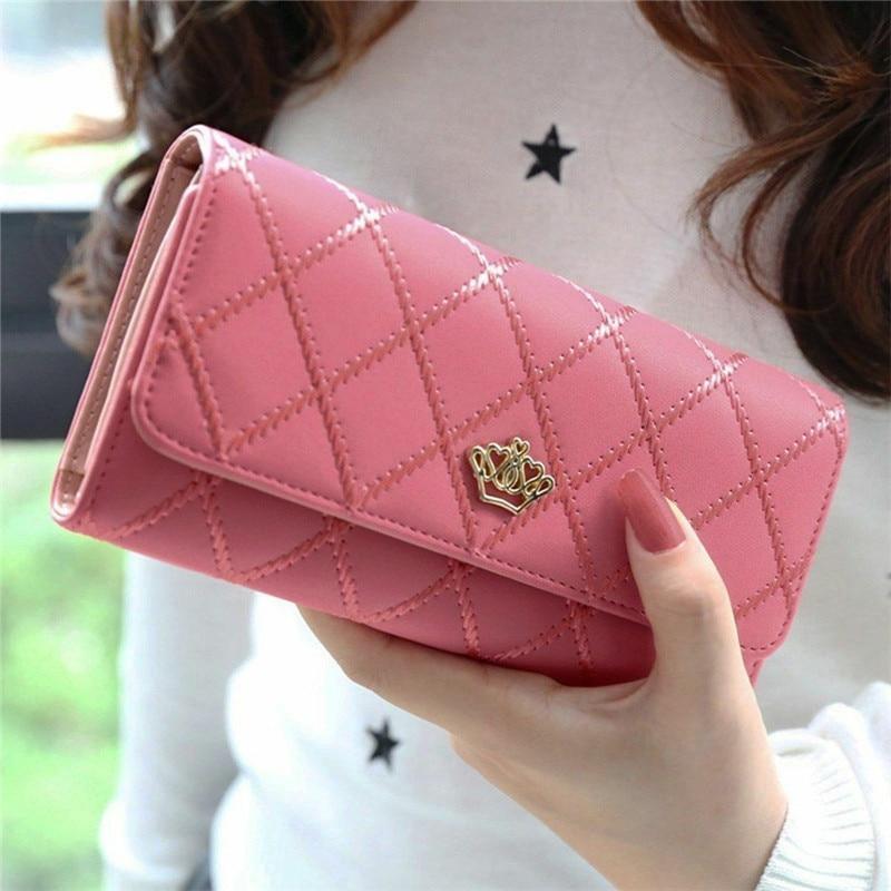 Long Wallet Women Plaid Purses Handbag Fashion Coin Purse Card Holder Wallets Female Clutch Money Bag PU Leather Wallet