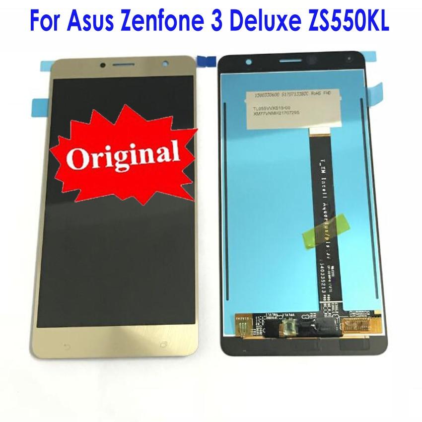 Original Best Work Gold Sensor LCD Display Touch Screen Digitizer Assembly For Asus Zenfone 3 Deluxe ZS550KL Z01FD Glass Panel