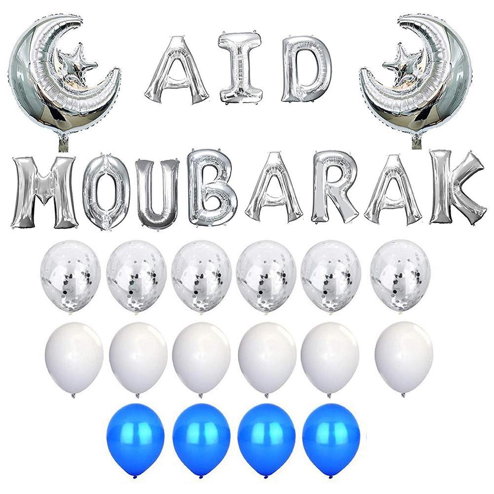 New 1 Set AID Mubarak Aluminum Film Letter Moon Star Foil Confetti Balloons Set Festival Party Decor Supplies
