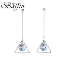 BAFFIN Bohemian Long Chain Drop Earrings Fancy Crystals From SWAROVSKI Piercing Silver Color Ear Jewelry For Women Summer 2018