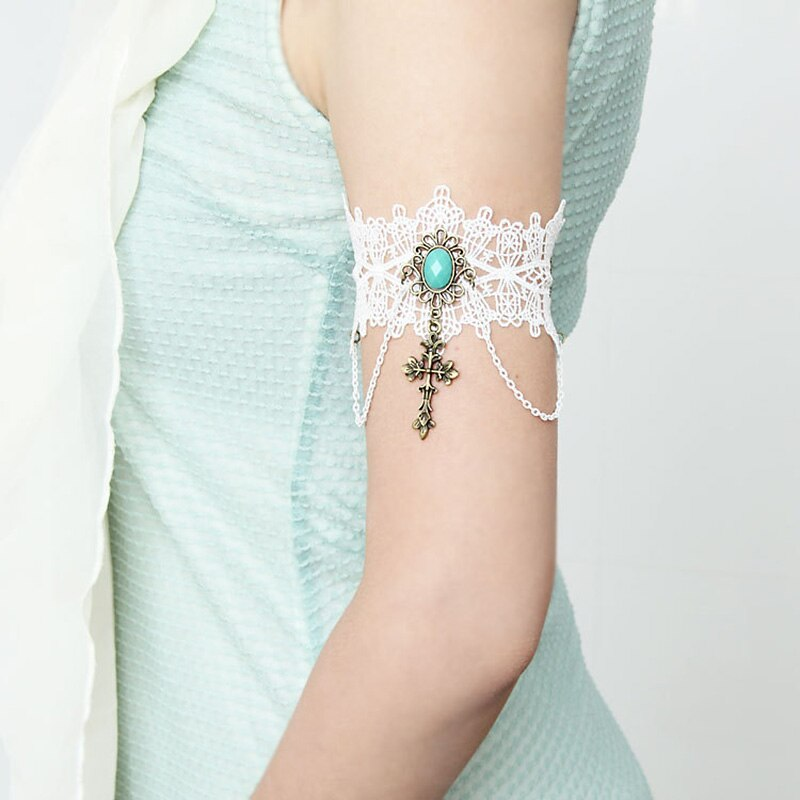 Nouveau brassard bracelets pour femme à la main fleur blanc dentelle pierre croix goutte bras bande de mariage mariée gothique dame bijoux