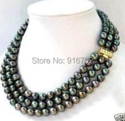 YH @ CS> Imagen REAL tres tiras 8 mm collar de perlas negras naturales del Mar del Sur