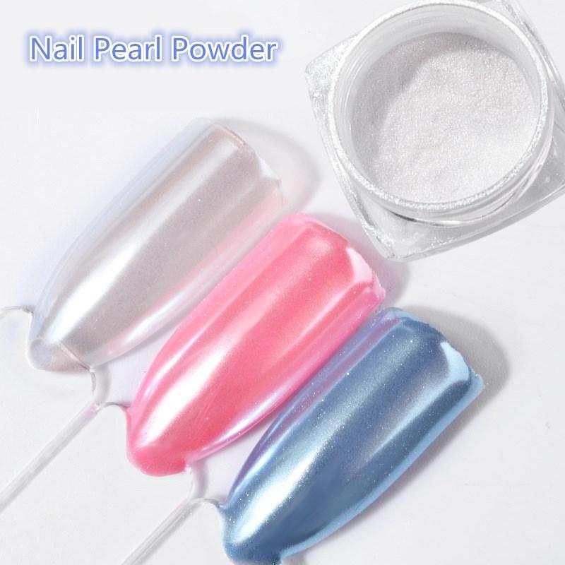 2G/Box Diamond Mermaid Pearl Mermaid Matte Shining White DIY Nail Art Glitter Chrome Powder Dust