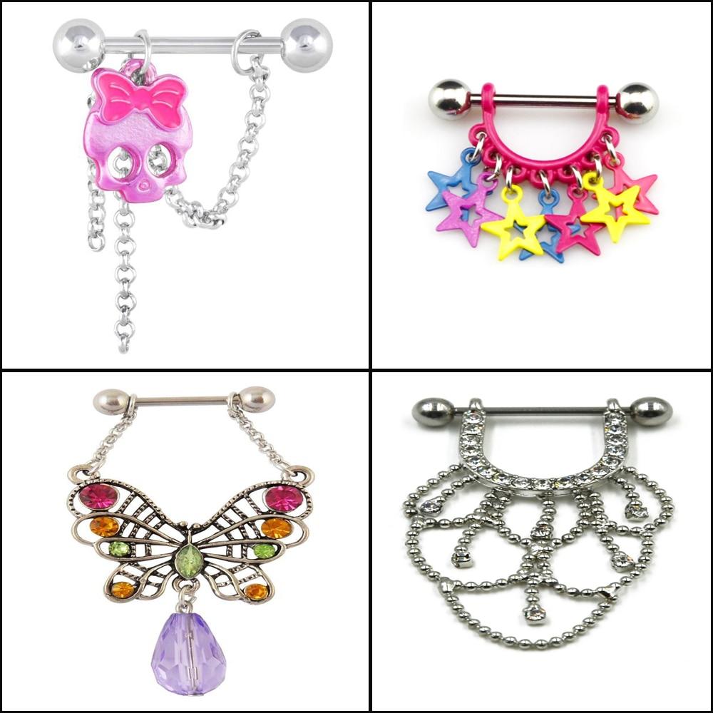1PCS  Butterfly Star,Charming Dangle Nipple Barbell Rings Piercing Nipple Shield Bar Piercing Jewelry