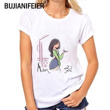 round neck female white Slim short-sleeved fashion cartoon MULAN printing T-shirt female thermal transfer T-shirt BJN297