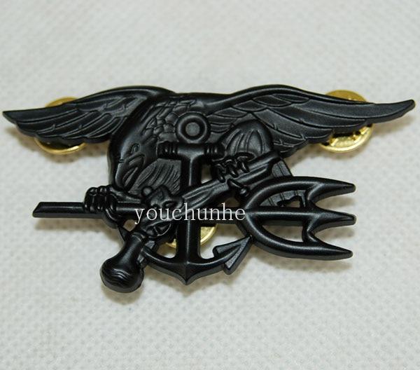 US Navy Seal Eagle Anchor Trident Metal Badge Insignia Black - US027