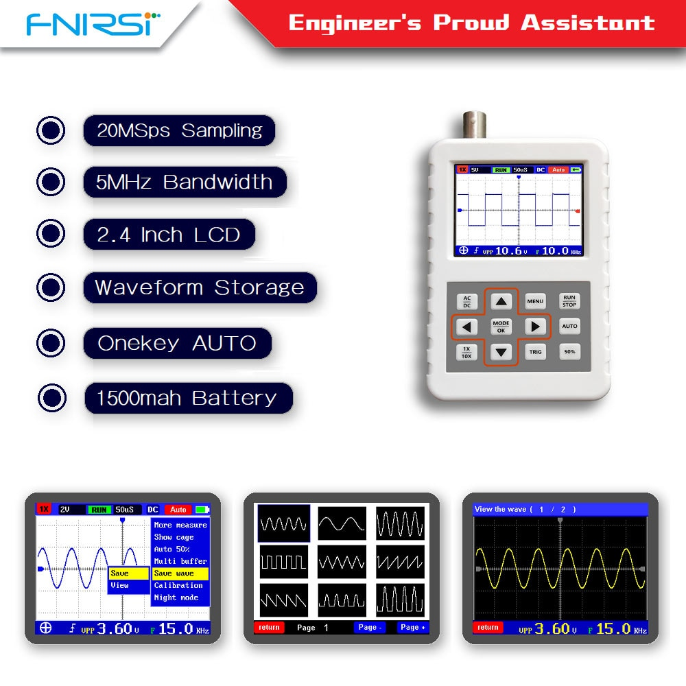 Mini osciloscopio digital portátil DSO FNIRSI PRO, 5M de ancho de banda, 20MSps, frecuencia de muestreo con sonda estándar BNC P6020