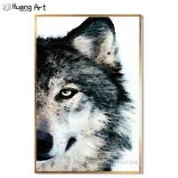 artist directly supply high quality hand painted gray wolf oil painting on canvas modern abstract wolf head canvas painting