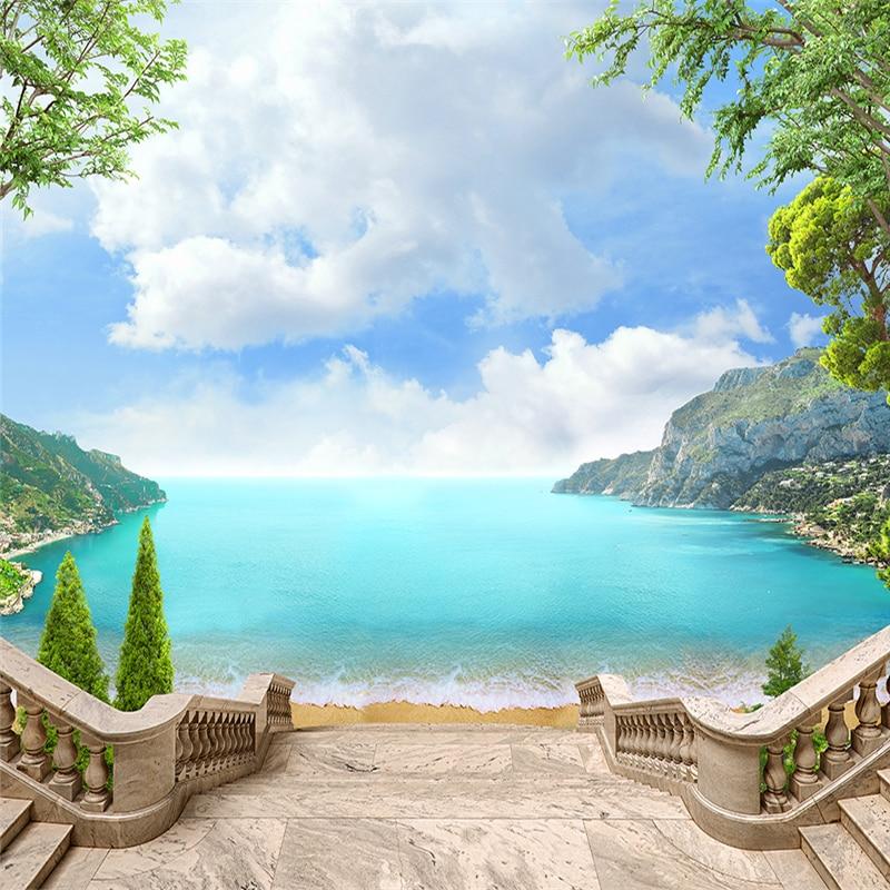 Beibehang, papeles de pared personalizados, estético, Continental, balcón, vista al mar, paisaje, pared, papel de pared para sala de estar
