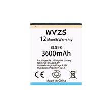 Wvzs 3600 mAh reemplazo de la batería BL198 para Lenovo A859 A860E S890 K860 K860I A678T S880I A850 A830 baterías