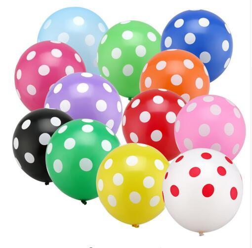 Globos de látex de 10 uds/lote de 12 pulgadas, Globos de lunares de colores para decoración de fiesta de cumpleaños o boda, Globos de aire