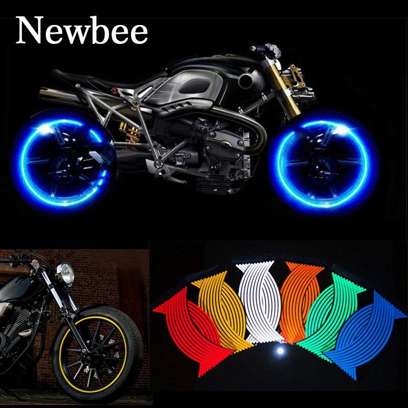 Newbee 16 шт., наклейки на колеса мотоцикла, Светоотражающая наклейка на обод, лента для стайлинга велосипеда, для YAMAHA HONDA SUZUKI KAWASAKI BMW